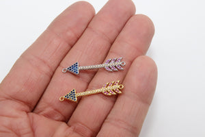 CZ Micro Pave Arrow Connectors, Gold, Silver Arrowhead Rainbow Cubic Zirconia - A Girls Gems