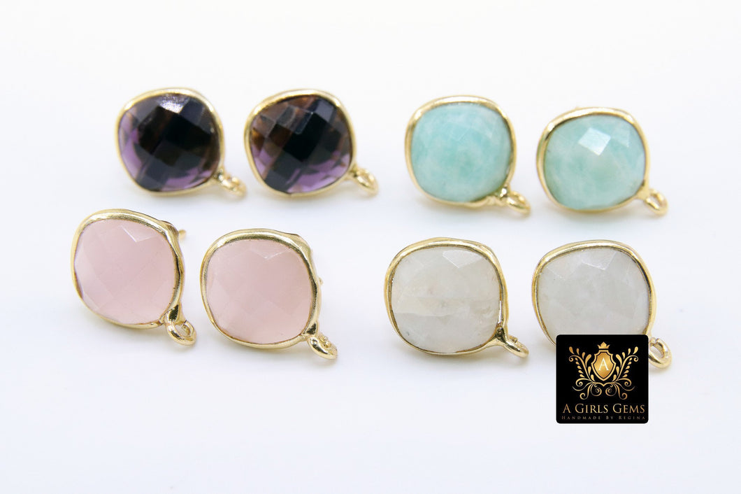 Round Moonstone Gold Plated 925 Sterling Silver Stud Gemstone Earrings with Loops, Rainbow White Square Diamond Jewelry Store