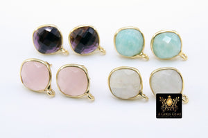 Pink Tourmaline Gold Plated 925 Sterling Silver Stud Gemstone Earrings with Loops - A Girls Gems