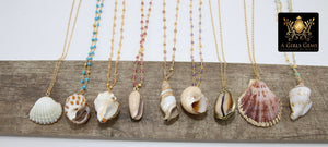 Seashell Necklace, Gold Dipped Edge Scallop Shells Rosary Gemstone, 14 K Gold Chain - A Girls Gems