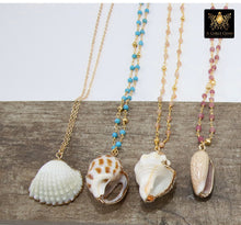 Load image into Gallery viewer, Seashell Necklace, Gold Dipped Edge Scallop Shells Rosary Gemstone, 14 K Gold Chain - A Girls Gems