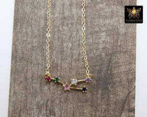 Taurus Zodiac Necklace, 14 k Gold Horoscope Sign Constellation Rainbow Choker, Clear Cubic Zirconia - A Girls Gems