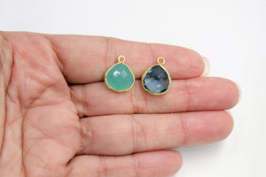 Teardrop Bezel Charms, Gold Plated Gemstone Pears, Rainbow - A Girls Gems