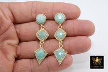 Load image into Gallery viewer, Amazonite Stud Earrings, Raw Turquoise Studs, Formal Jade Stone Stud Earrings, Mint Blue Dangle Gemstones, Gold, 925 Jewelry - A Girls Gems
