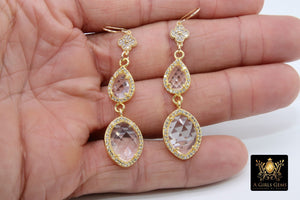 14 K Gold Crystal Quartz Earrings, Gemstones April CZ Diamond Birthstone Dangle Clover Ear Wire Hooks - A Girls Gems