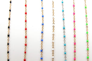 Enamel Satellite Chain, Gold Dainty Tiny Beaded, By the Yard Unfinished Chains, Rainbow Necklace Jewelry Chain - A Girls Gems