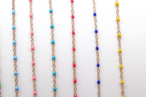 Enamel Satellite Chain, Gold Dainty Tiny Beaded, By the Yard Unfinished Chains - A Girls Gems