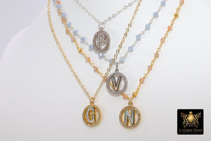 Initial Gemstone Rosary Chain Necklace, Gold Pyrite Opal Letters - A Girls Gems