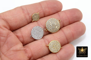 CZ Micro Pave Round Disc Pendant, 18 k Gold/Silver/Black 10 mm Connectors Circle, Clear Cubic Zirconia Earring Components - A Girls Gems