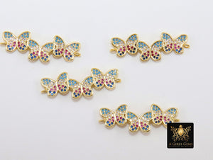 CZ Micro Pave Gold Butterfly Connector, 3 Pcs Multi Color Butterflies, African Monmouth Insect Jewelry - A Girls Gems