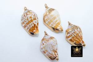 Seashell Charms, Gold Dipped Edge Nautical Shells - A Girls Gems