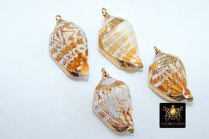 Seashell Charms, Gold Dipped Edge Nautical Shells, Boho Cowrie Cone Necklace