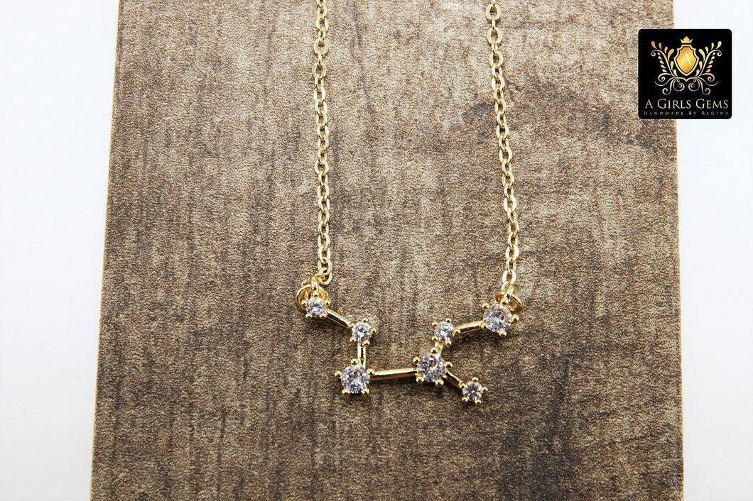 Virgo Zodiac Necklace, Gold Filled Horoscope Star Sign Constellation Choker - A Girls Gems