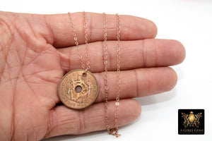 Genuine Coin Necklace, 14 K Rose Gold Filled Dainty Chain with Elephant Medallion - A Girls Gems