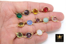 Load image into Gallery viewer, Round Gemstone Connectors,  Linking Station Bezels, 10 mm Birthstone colors - A Girls Gems