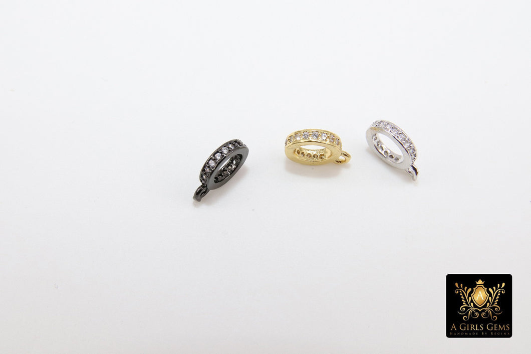 Micro Pave CZ Charm Holder Connector Rings, 1 Row CZS, Slide Spacer Circle Beads Silver, Black, Gold Large Hole Pandora Dangle