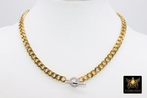 Silver CZ Micro Pave Toggle Bar Curb Chain Necklace - A Girls Gems