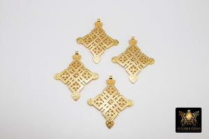 Gold Ethiopian Coptic Cross Pendant, Christian Cross Brass Religious Jewelry Findings - A Girls Gems