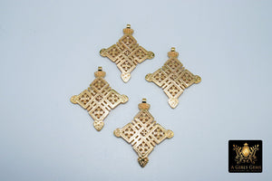Brass Ethiopian Coptic Cross Pendant, Christian Cross Gold Brass Religious Necklace Jewelry Findings