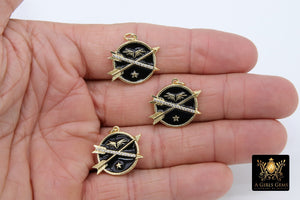 Arrow Charms, Black and Gold CZ Pave Round Disc Angel Wings, Star - A Girls Gems