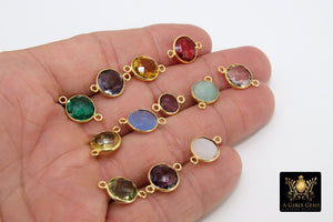 Round Gemstone Connectors,  Linking Station Bezels, 10 mm Birthstone colors - A Girls Gems