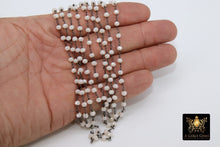 Load image into Gallery viewer, Light Cream Rosary Chain, Gunmetal Black Plated Beige AB Crystal 4 - A Girls Gems