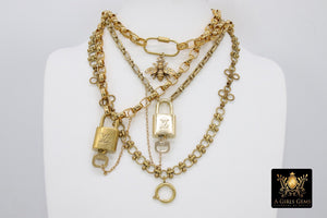 Gold LV Lock and Key Necklace, Vintage Rolo Chain Chunky Statement Choker, Authentic Louis Vuitton Padlock #324