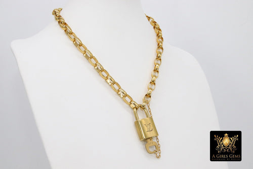 Gold Vintage Rolo Chain Chunky Necklace with Authentic Louis Vuitton Padlock #300 - A Girls Gems