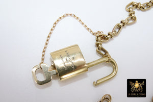 Authentic Louis Vuitton Padlock Necklace, Gold LV Lock and Key #301 Vintage Textured Oval Cable Chain