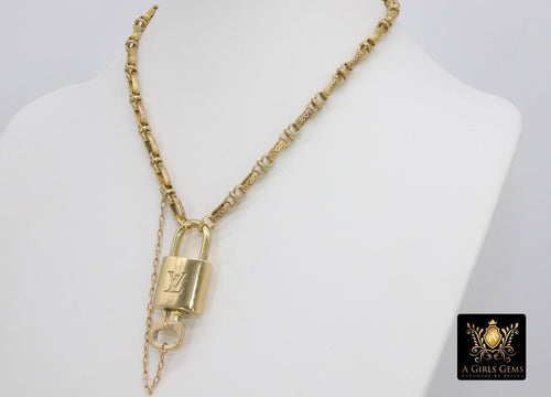 Gold Repurposed Textured Vintage Chain with Authentic LV Lock and Key #328 - A Girls Gems