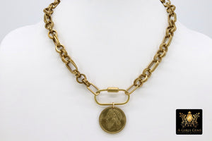 Greek Coin Necklace, Brass Chain Oval Clasp Chain Sailboat Medallion Choker - A Girls Gems