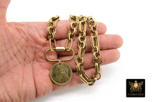 Load image into Gallery viewer, Greek Coin Necklace, Brass Chain Oval Clasp Chain Sailboat Medallion Choker - A Girls Gems