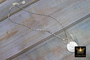 Coin Necklace, Genuine Silver Guardian Angel Coin on 925 Silver Ring, Venice Style Necklace Chain - A Girls Gems
