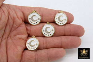 Moon and Stars Charms, White and Gold, CZ Pave Round Disc - A Girls Gems
