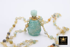 Perfume Bottle Rosary Chain Necklace, Essence Oil Citrine - A Girls Gems