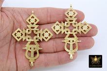 Load image into Gallery viewer, Brass Ethiopian Coptic Cross Jewelry Pendant African Cross Gold Charm Pendants Religious Jewelry Making Supplies - A Girls Gems