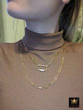 Load image into Gallery viewer, Gold Rectangle Necklace, Oval Screw Clasp Long Necklace, Wrap Necklace, Everyday Choker - A Girls Gems