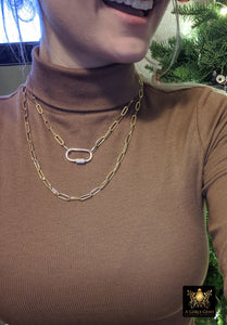 Gold Rectangle Necklace, Oval Screw Clasp Long Necklace, Wrap Necklace, Everyday Choker - A Girls Gems