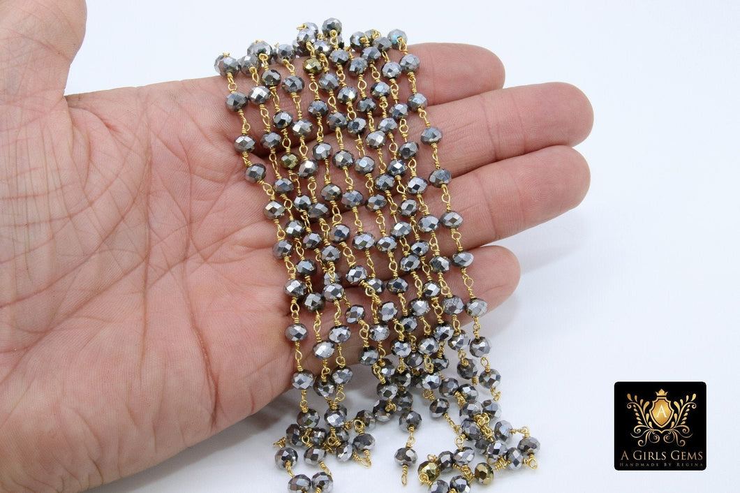 Gunmetal Black Crystal Rosary Chain, 4 mm Gold Wire Wrapped Crystal Beads, Unfinished Jewelry Chains Bulk
