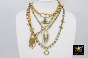 Gold Textured Vintage Chain with Authentic LV Lock and Key #301 - A Girls Gems