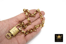 Load image into Gallery viewer, Gold LV Lock and Key Necklace, Vintage Rolo Chain Chunky Statement Choker, Authentic Louis Vuitton Padlock #324