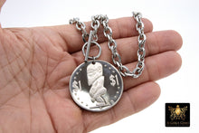 Load image into Gallery viewer, Silver Coin Necklace, Tangaroa God, Toggle Wrap Large Cable Chain, Cook Island Tiki Coin, Queen Elizabeth - A Girls Gems