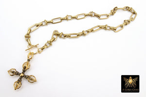 Gold Cross Necklace on Vintage Oval Chain with Large Thunderbolt Diamond Dorje Vajra Choker - A Girls Gems