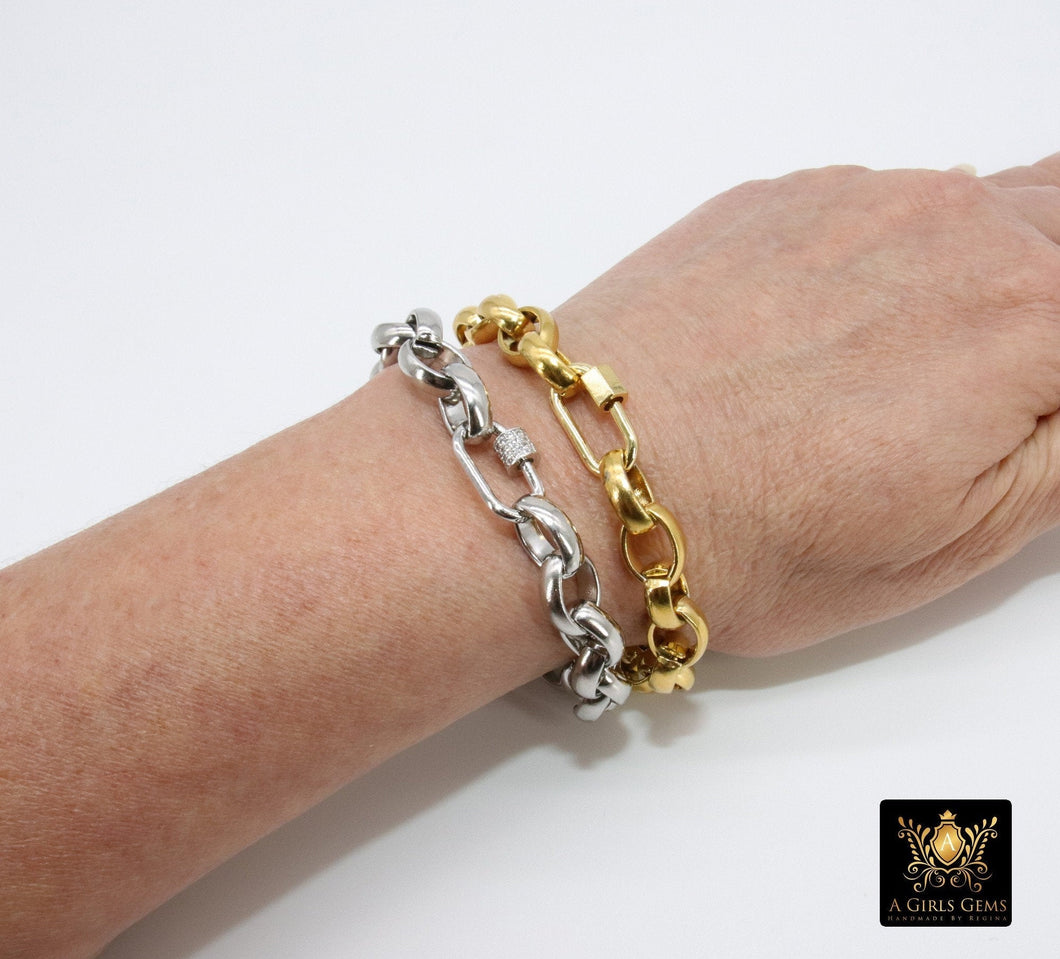 Gold Chunky Chain Bracelet, Rolo Silver Link Oval Charm Couples Jewelry, CZ Screw Clasps - A Girls Gems