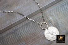 Load image into Gallery viewer, Coin Necklace, Genuine Silver Guardian Angel Coin on 925 Silver Ring, Venice Style Necklace Chain - A Girls Gems