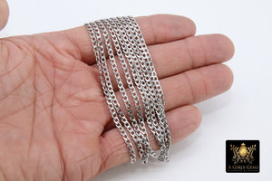 Stainless Steel Chain, 304 Silver Flat Dainty Curb Chains, 5 mm Unfinished Cable Necklace Chains, By the Yard
