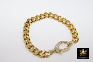 Gold Wrap Bracelet, Chunky Link Bracelet, 304 Gold Stainless Curb Chain Jewelry - A Girls Gems