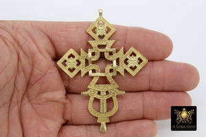 Brass Ethiopian Coptic Cross Jewelry Pendant African Cross Gold Charm Pendants Religious Jewelry Making Supplies - A Girls Gems