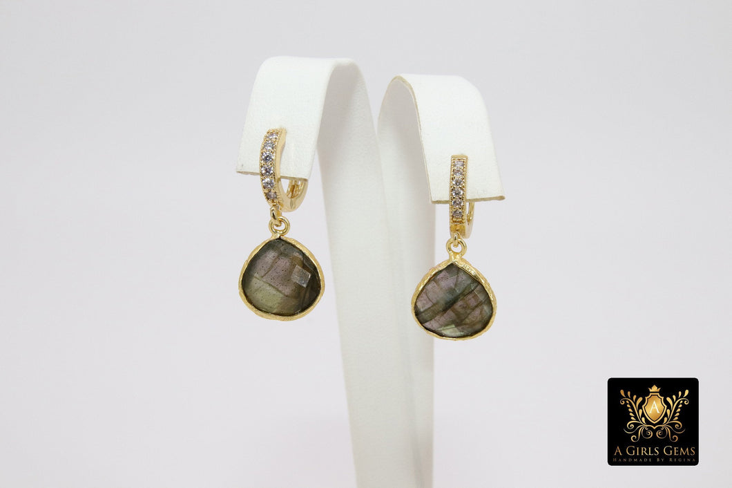 Huggie Hoop Earrings, Labradorite and Gold Hoops, CZ Latch back Gemstone Earring - A Girls Gems