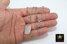 Load image into Gallery viewer, Dog Tag Necklace, CZ Silver Rectangle Pendants - A Girls Gems